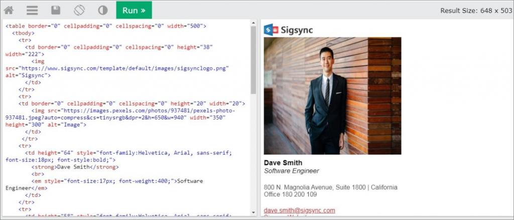 HTML editor Office 365 signature