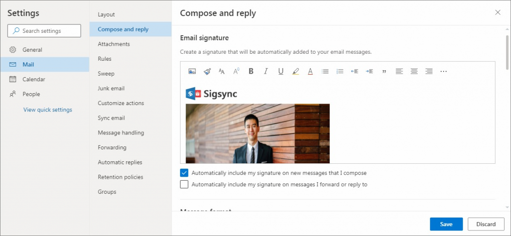 compose email signature with image