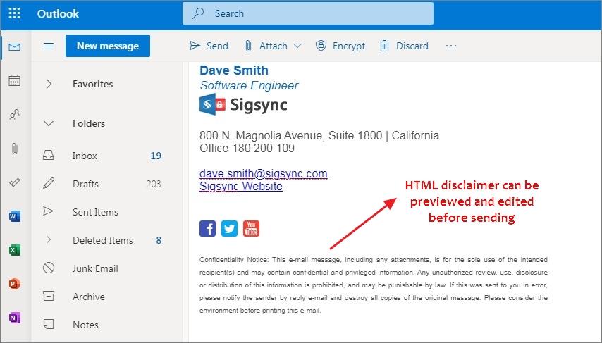 html disclaimer Office 365 signature