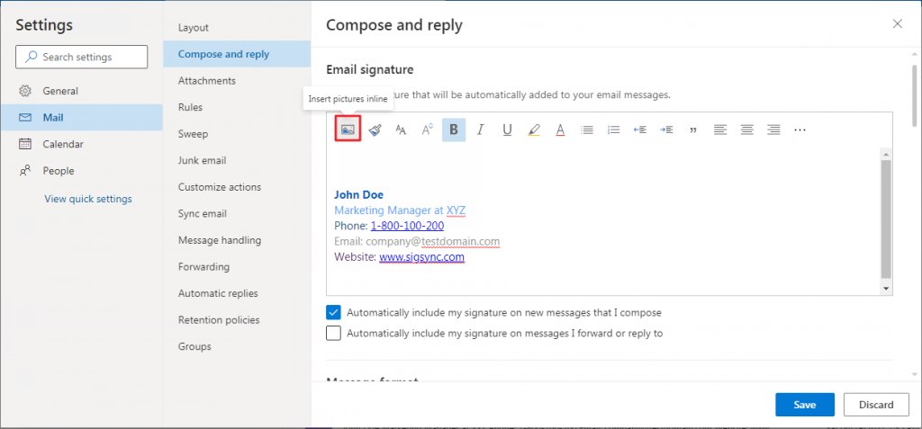 insert an image Office 365 email signature