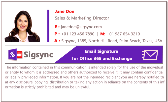 Office 365 Email Signature color